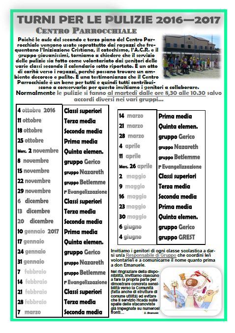 Calendario Pulizie.Turni Pulizie Centro Parrocchiale 2016 2017 Parrocchia